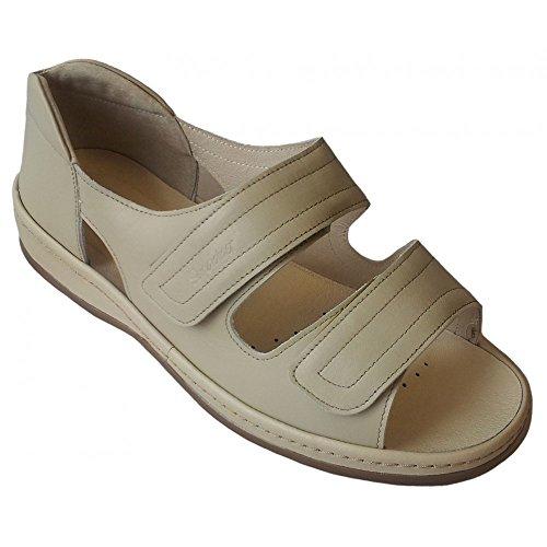 Sandalen Beige Strap Cheryl Damen über Velcro wqXIEB4