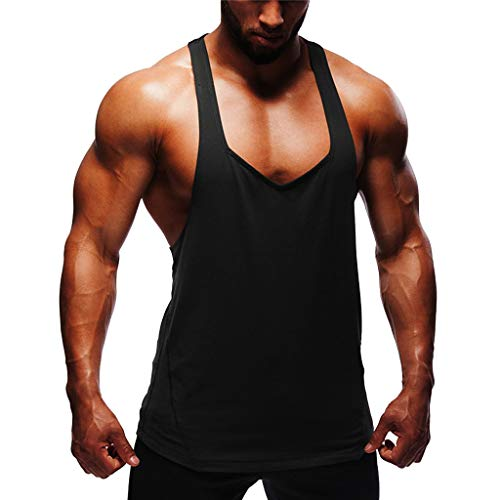 CHAELAKES Mens Sports Fitness Tank Top Summer Solid Color Sleeveless Lightweight Zip-up Casual Workout Vest Muscle Tee Black ()