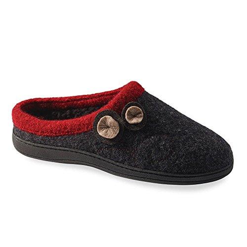 Acorn Women's Dara Slipper, Charcoal Button, Medium / 6.5-7.5 US