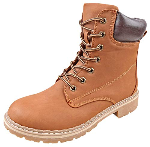 Forever Women's Ankle High Combat Hiking Boots Tan - 3