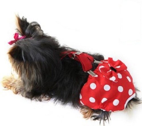 Pictures of FunnyDogClothes Dog Diaper With Suspenders RED POLKA 1