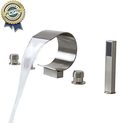 Waterfall Roman Tub Filler Faucet with BULUXE Hand-Held Shower Head,Widespread Gooseneck Bathtub Faucet Set, Deck Mount 5-Holes 3-Handles Faucet Modern Solid Brass Brushed Nickel