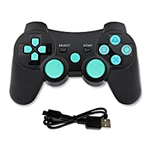 Lioeo PS3 Controller Wireless Remote Control PS3 Gaming Controller Sixaxis PS3 Gamepad with Charger Cable for PS3 - Blue Stick