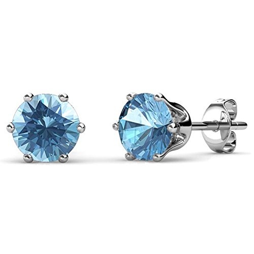 Cate & Chloe March Birthstone Stud Earrings, 18k Gold Plated Earrings with 1ct Gemstone Swarovski Blue Aquamarine Crystals, March Birthstone Jewelry for Women