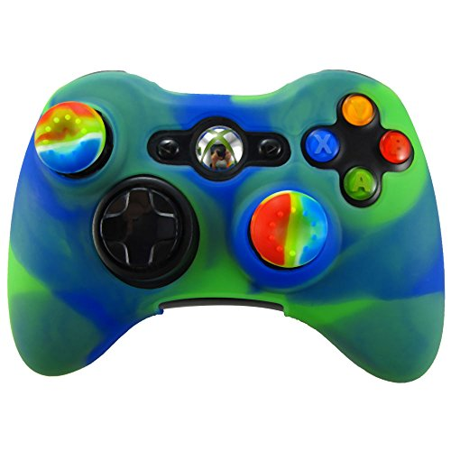 Pandaren Soft Silicone Skin for Xbox 360 Controller Set(Blue dark green Skin X 1 + Thumb Grip X 2)