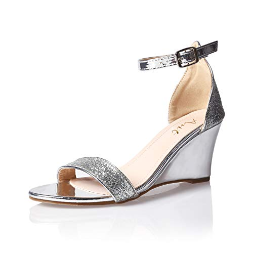 AIIT Women's Wedge High Heel Sandals Silver Glitter1920s Gatsby Style Sparkling Ankle Strap Sequin Block Pumps with Buckle Fashion Formal Dress Party Prom Bride Sexy Shoes for Women Size 6