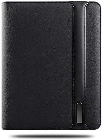 WZJN Business Reise A5 reißverschluss Notebook padfolio mit 5000 mAh wiereless Lade Power Batterie innen Mobile Tasche Halter schreiben pad