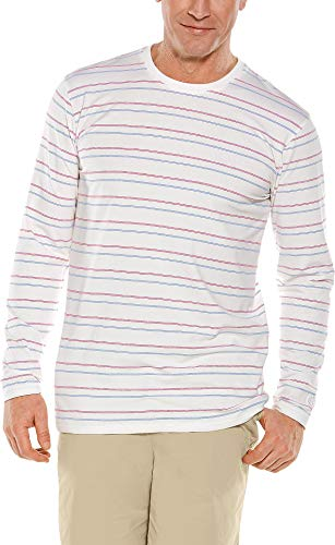 Coolibar UPF 50+ Men's Long Sleeve Everyday T-Shirt - Sun Protective (Medium- White Multicolor Stripe) ()