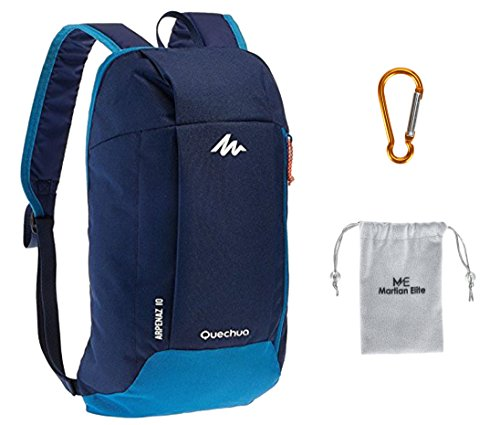 Decathlon QUECHUA Arpenaz Kid/Adult Outdoor Backpack, Mini Small Daypack 10L with Carabiner Clip