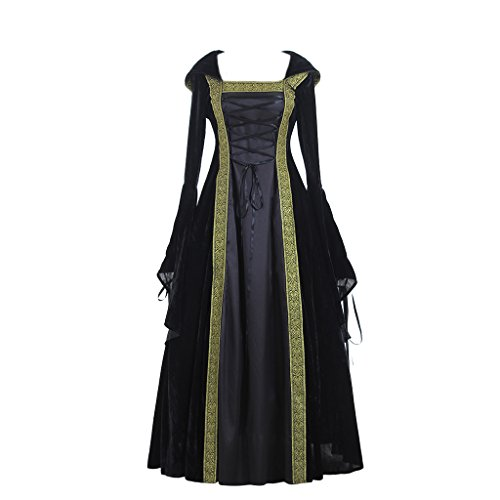 CosplayDiy Women's Medieval Renaissance Retro Gown Cosplay Costume Dress S Black