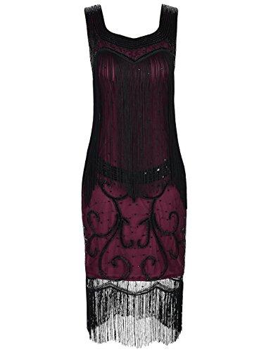 PrettyGuide Women 1920s Dress Art Deco Sequin Fringed Great Gatsby Flapper Dress L Burgundy