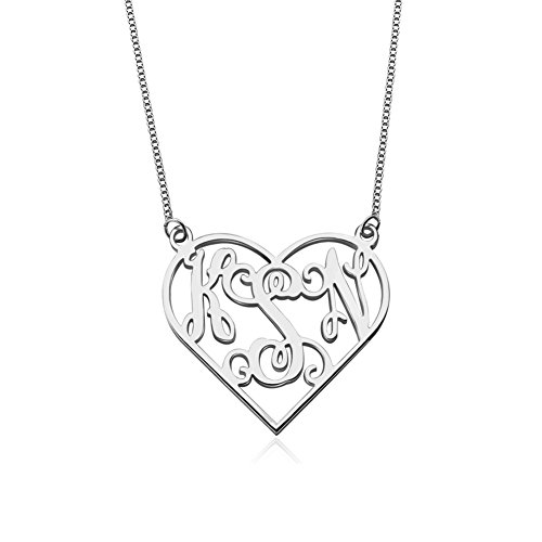 Ouslier Personalized 925 Sterling Silver Heart Monogram Necklaces Custom Made with 3 Initials 18