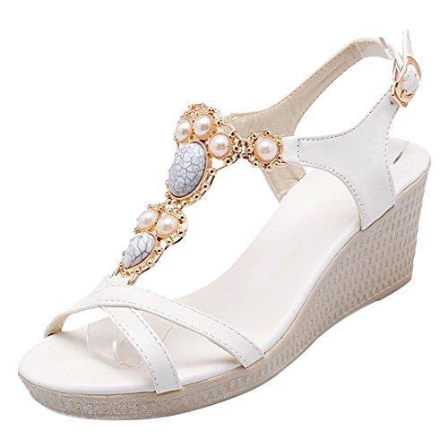 COOLCEPT Damen Open Toe Sandalen Schuhe Keilabsatz White