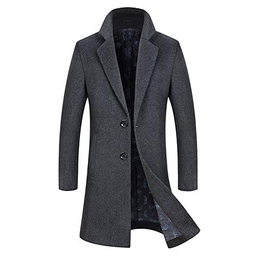 Caban grauer Winter Warmer Wolle Man Long Coat Allthemen aus Trenchcoat XZkPuOi