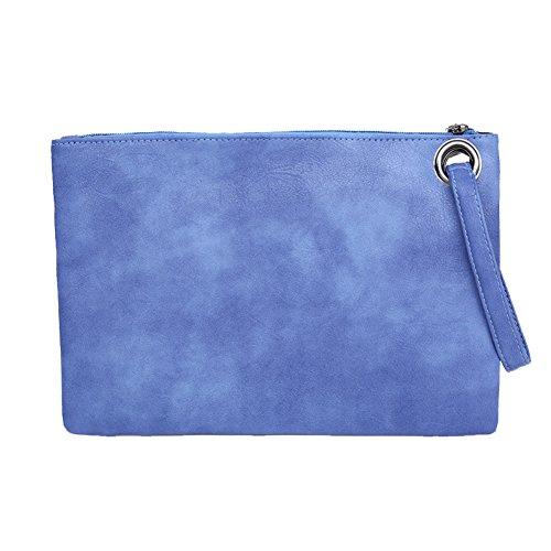Envelope Purse Leather BEKILOLE Evening Handbag Clutch Women`s Blue Bag PU ZwHqf