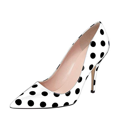 YDN Women's Chic Pointed Toe Mid Heel Pumps Polka Dots Slip on Stilettos Shoes for Party 4 (White Polka Dot) ()