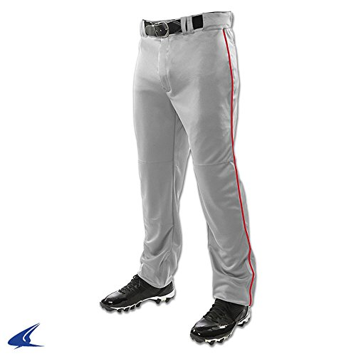CHAMPRO Triple Crown Open Bottom Pant with Piping Grey, Scarlet Pipe Adult S BP91U BP91UAGSPS