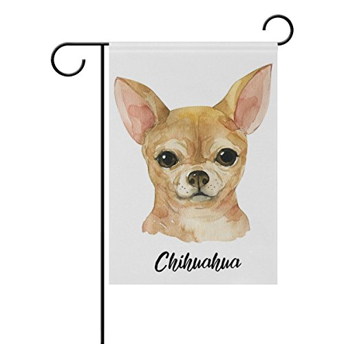 Chihuahua Dog Garden Flag - ClustersN Chihuahua Dog Double-Sided Printed Garden House Sports Flag - 12x18in - 100% Premium Polyester Decorative Flags for Courtyard Garden Flowerpot