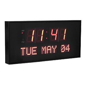 Dynamic Living Oversized 16-inch X 7.5-inch Digital Led Calendar Wall Clock