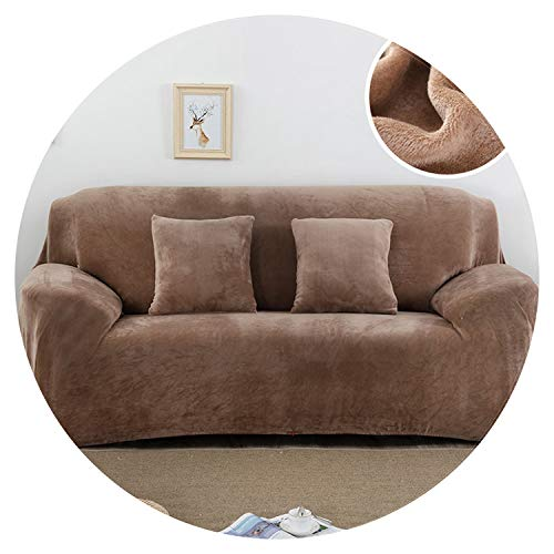 Plush Fabric Sofa Cover 1/2/3/4 Seater Thick Slipcover Couch Sofa Covers Stretch Elastic Sofa Covers Towel wrap Covering,Beige,4 seat 230-300cm