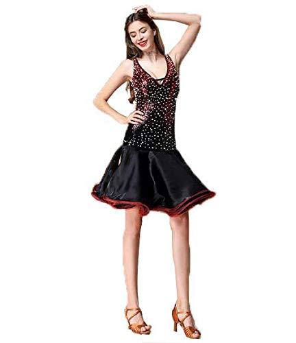 女性のラテンダンスの衣装大人の新しいスカート V ネックスパンコールパフォーマンス衣類 B07MNQ7SD1 Black Large