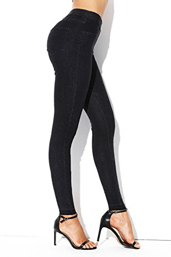 Sidefeel Women Casual Elastic Waist Jeans Stretch Leggings Large Black