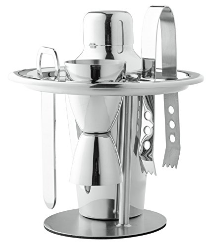 Chef's Star 6 Piece Stainless Steel Compact Bar Set - Includes - Ice Bucket Cocktail Shaker Set - Martini Shaker Set Bar Tool Stand Bottle Opener Double Jigger Ice Tong (Cocktail Ice Tongs)