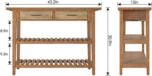 HOMECHO Rustic Console Table with Drawers, Farmhouse Hallway Entryway Table with Storage, Accent Sofa Table with 2…