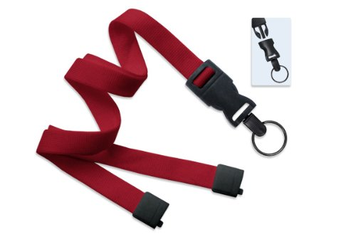 Red Optiweave Break-Away Lanyard with DTACH Split Ring - 100pk (Dtach Lanyard Optiweave)