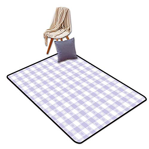 Door Rug for Internal Anti-Slip Rug Lavender Pastel Colored Classic Gingham Check Pattern with Delicate Small Blossoms Hard and wear Resistant W59 xL71 Lavander White