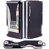 MouZie Black Money Clip + Cash Strap Band Slim Aluminum RFID Blocking Minimalist Premium Front Pocket Credit Card Holder Wallet + Compact Key Organizer Keychain Set Gift For Men Women