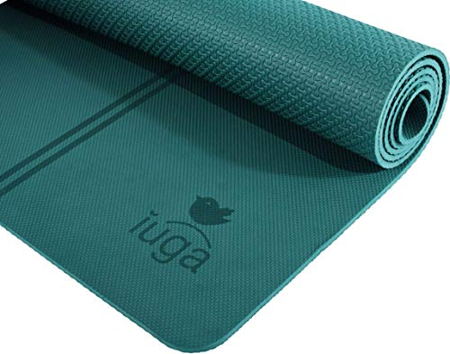"IUGA Non Slip Yoga Mat, Exclusive Alignment line for Proper Positioning, Bonus Yoga Mat Strap, Eco Friendly TPE Material – Excellent Cushion and Lightweight, Size 72""X26"" Thickness 7mm"