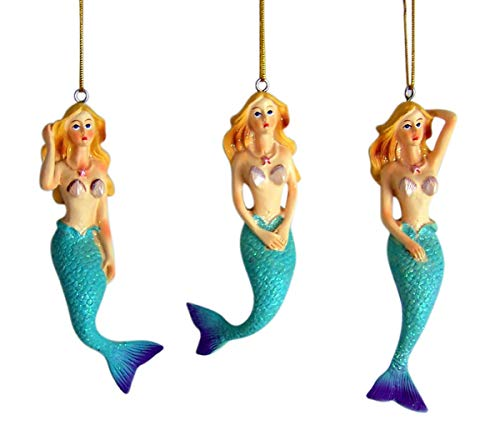 Chesapeake Bay Ornaments - Mermaid Hanging Ornament 4 1/2 Inch Set of 3