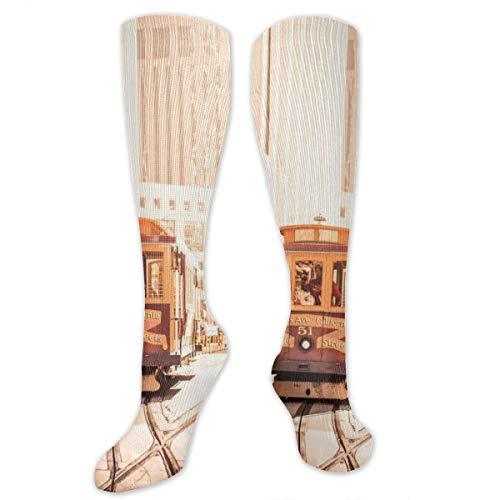 SARA NELL Knee High Socks San Francisco Cable Car On Sunny California Street Compression Socks Sports Athletic Socks Tube Stockings Long Socks Funny Personalized Gift Socks for Men -