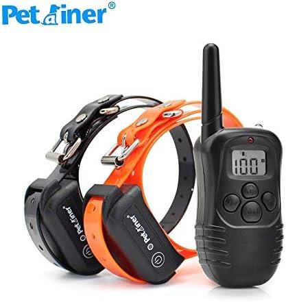 Petrainer Pet998DB Original, 300 Metros para 1 o 2 Perros a la Vez 100% Sumergible - 3 Modos (+ 2 con Dos Collares)