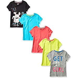 Amazon Brand – Spotted Zebra Girl's Toddler & Kids 5-Pack Short-Sleeve T-Shirts