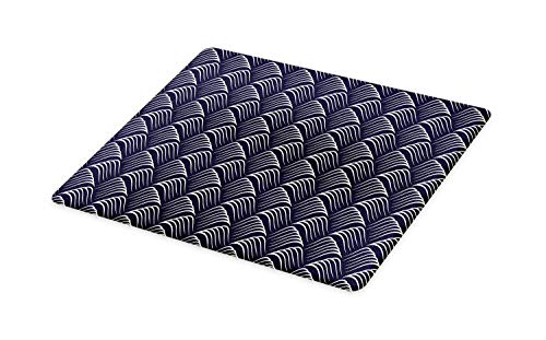 Ambesonne Geometric Cutting Board, Vintage Ocean Waves Design with Swirled Ripples Ancestral Ornate Nautical, Decorative Tempered Glass Cutting and Serving Board, Small Size, Dark Blue Cream (Ripple Wave Board)