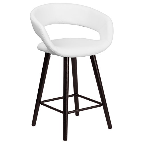 (Flash Furniture Brynn Series 23.75'' High Contemporary Cappuccino Wood Counter Height Stool in White Vinyl)