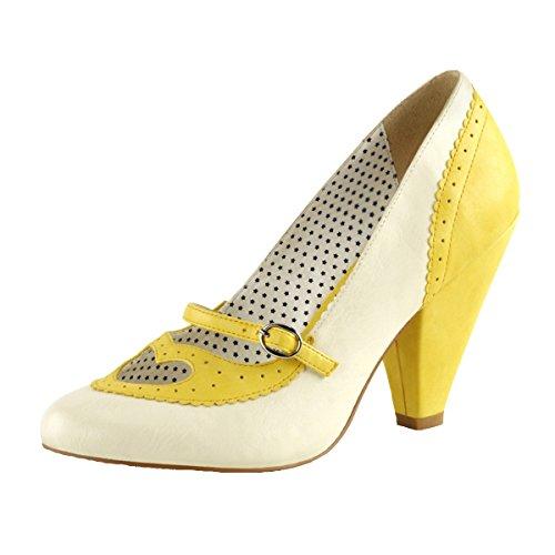 Heels-Perfect - Zapatos de vestir de Material Sintético para mujer Amarillo (Gelb)