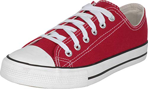 (S-3 Women's Low Top Classic Canvas Fashion Sneaker (11 B(M) US, Red))
