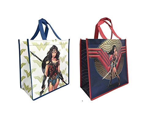 DC Comics Wonder Woman Freedom Fighter Full Tote Bag Grocery Shopping Bags Bag ~ 2 Reusable Tote Bag ~ Gift Bag ()
