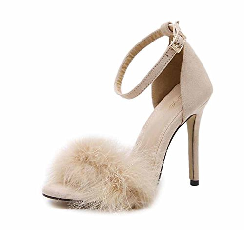 Mujer Zapatillas Punta Abierta Talones Plumas Tacón Alto Sandalias Felpa Hueco Zapatos Corte Zapatos Beige