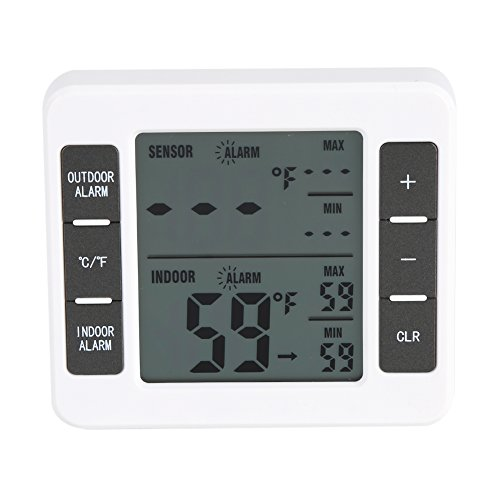 Digital Refrigerator Thermometer, Wireless Digital Freezer Thermometer Indoor/Outdoor Temperature Sensor with Audible Alarm