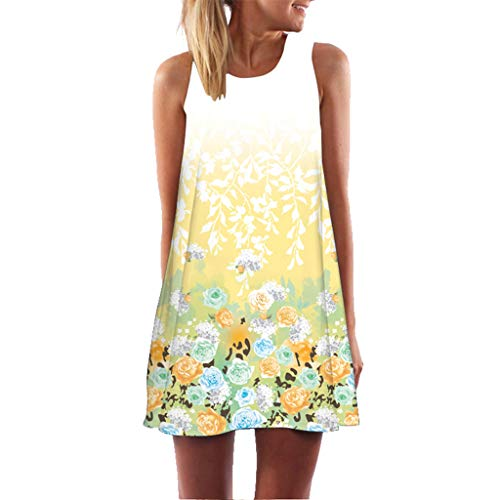 Malltop Vintage Women Summer Sleeveless Beach Floral Printed Short Mini Dress Casual A-Line Dress Plus Size S-2XL Yellow