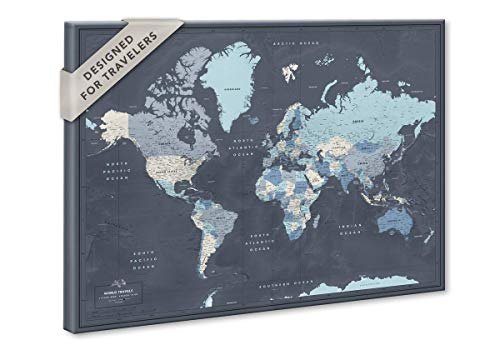 Family world travel map push pins on canvas - Personalized World map with pins - Fine Art Quality - Navy and many other color options