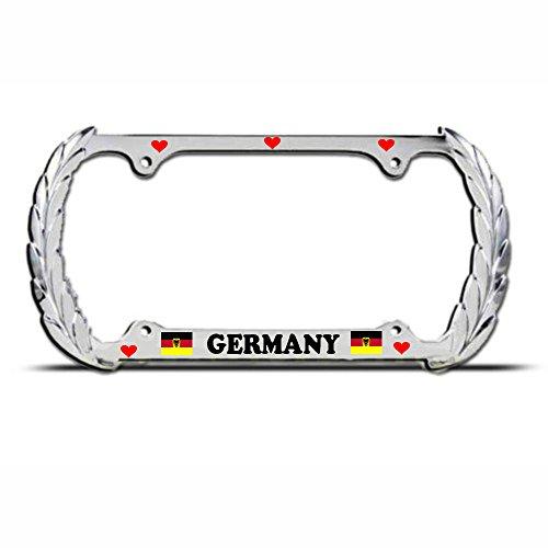 (Love Germany German Flag Chrome Heavy Duty Metal King License Plate Frame Perfect for Men Women Car garadge)
