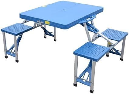 Pique Nique Homcom Plastique de Camping Table en Portable 4 sieges Pliante avec Bleu SVpGqzUM