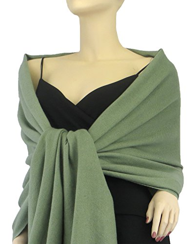 Pure Pashmina Wrap 3 Ply Sage Green