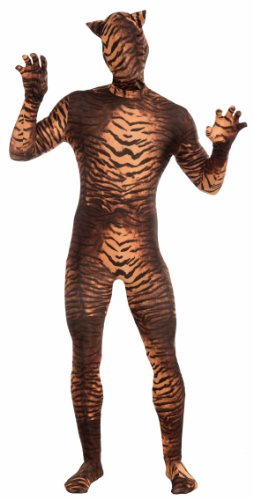 Tiger Print Gloves - Forum Novelties Men's Disappearing Man Patterned Stretch Body Suit Costume Tiger Print- Large, Gold/Black, Large/X-Large