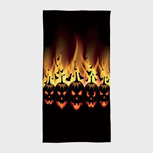 Cotton Microfiber Hotel SPA Beach Pool Bath Hand Towel,Vintage Halloween,Happy Halloween Image with Jack o Lanterns on Fire with Bats Holiday Decorative,Black Scarlet,for Kids, Teens, and Adults ()